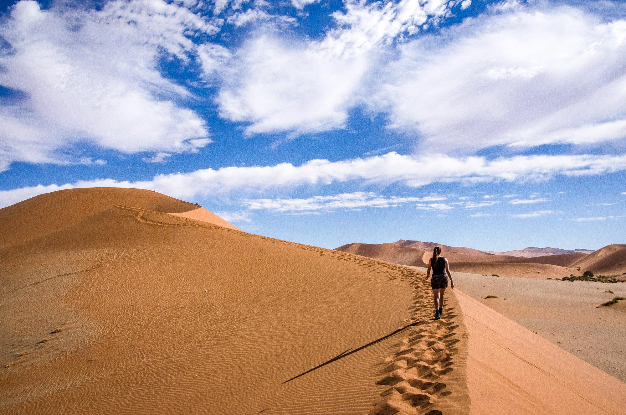 dune randonne escalader - sossuvlei - le desert du namibie - afrique, namibie